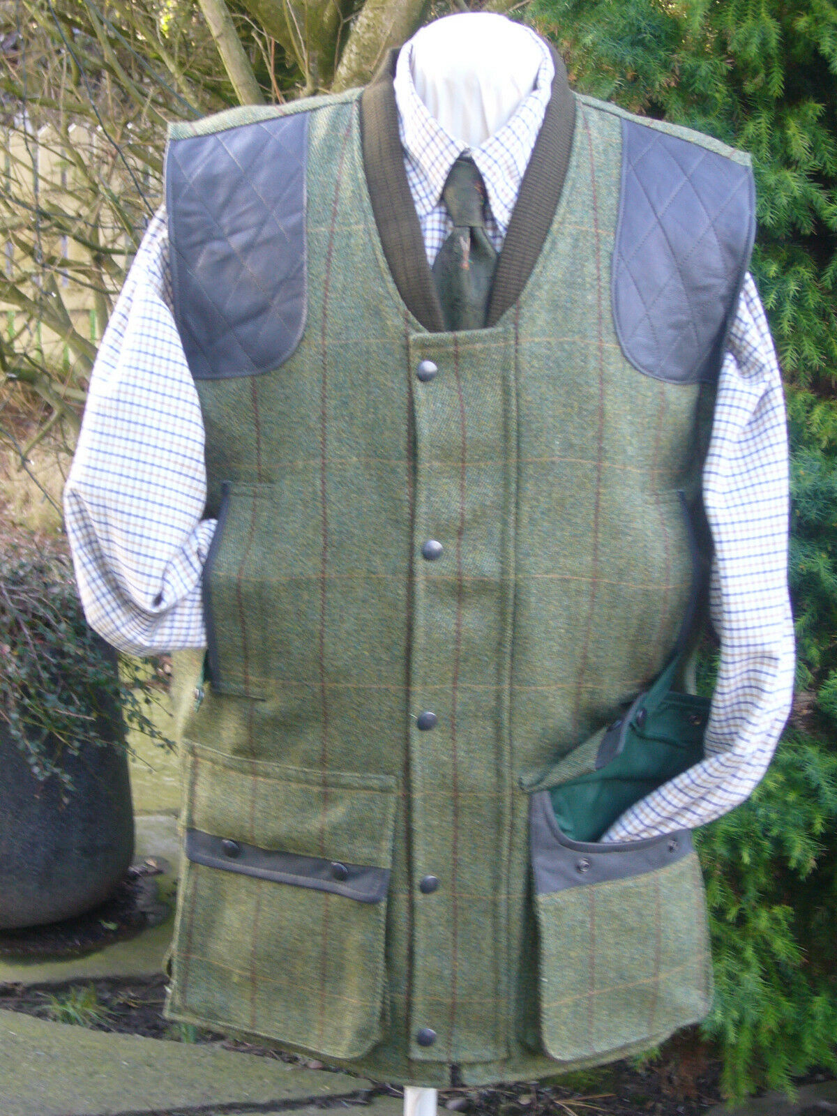 TWEED SHOOTING VEST WOOL NEW SHOOTING HUNTING S-6XL