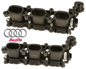 Pair-Set-Of-2-Left-amp-Right-Intake-Manifold-Air-Equalizer-Housing-For-Audi-A4-A6