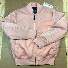 Stussy Satin Flight Jacket Bomber XLARGE Peach Pink XL