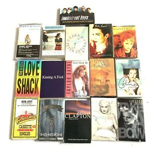 80s-Music-Cassette-Tapes-Lot-Of-16-Bon-Jovi-Madonna-George-Michael-Celine-Cyndi