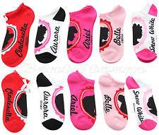 Disney 5 Princesses Cinderella Bow Silhouette Mix Match 5PR NO SHOW Socks 9-11