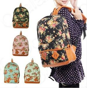 NWT-Women-Girls-Floral-Canvas-School-Book-Satchel-Travelling-Backpacks-Rucksack