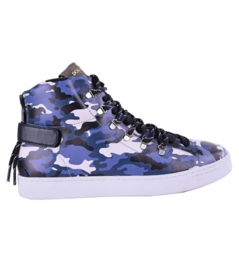 DOLCE /& GABBANA High-Top Camouflage Print Sneakers Blue Made in Italy 04646