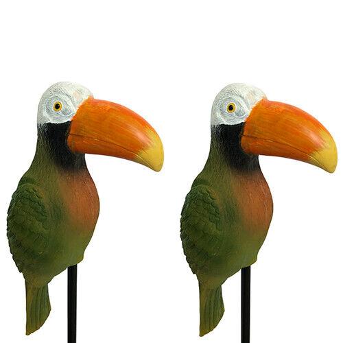 Papagei Vögel 2 Gartenstecker Vogel Flamingo Beetstecker Gartendeko Rost