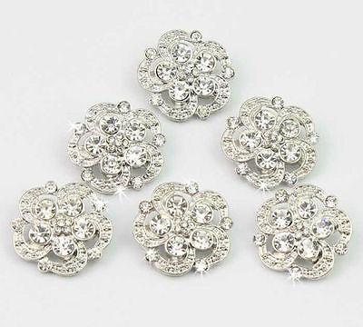 Hochwertig Silber Knöpfe 6 Stück Schöne Strass Glas Legierung