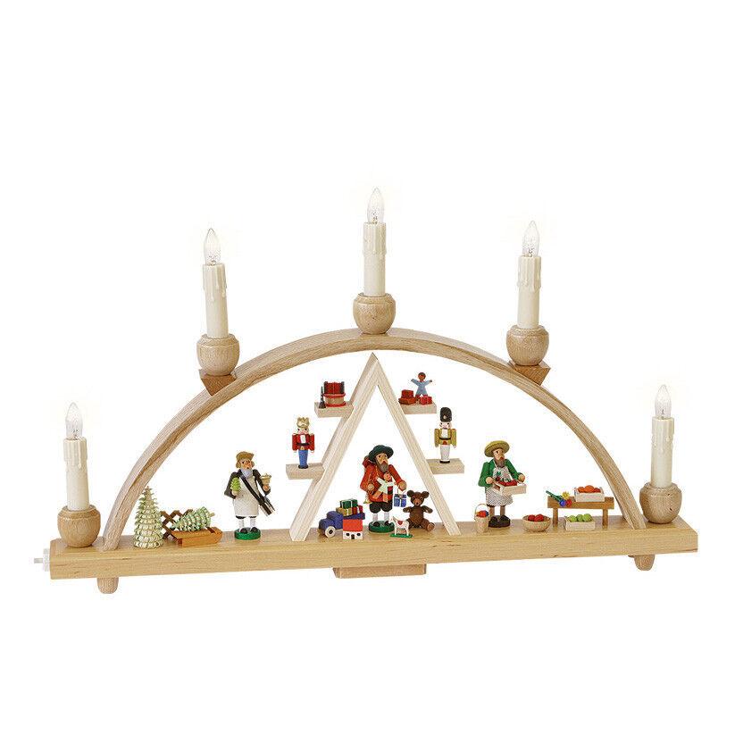 Schwibbogen Weihnachtsmarkt, Länge 48 cm, cm, cm, natur, komplett elektri.. RG 01237 NEU 9e9255