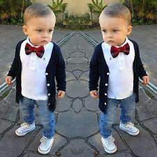 US 3PCS Set Baby Boys Dress Coat/Tie T-Shirt/Denim Pants Kids Clothes Outfits 2T