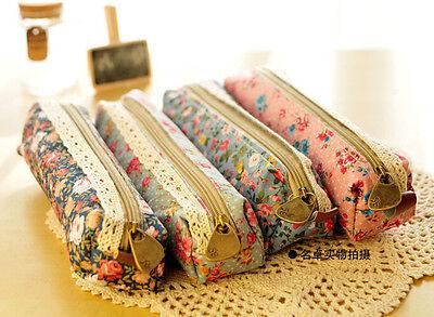 Convenient Flower Floral Lace Pencil Pen Case Zero purse Bag Pouch Holder JT12