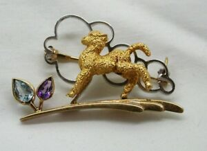 Lovely-Two-Colour-9-Carat-Gold-Amethyst-And-Topaz-Lamb-Brooch