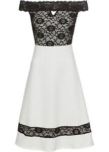 Carmen-Kleid Gr. 36/38 Weiß Schwarz Cocktailkleid Mini ...