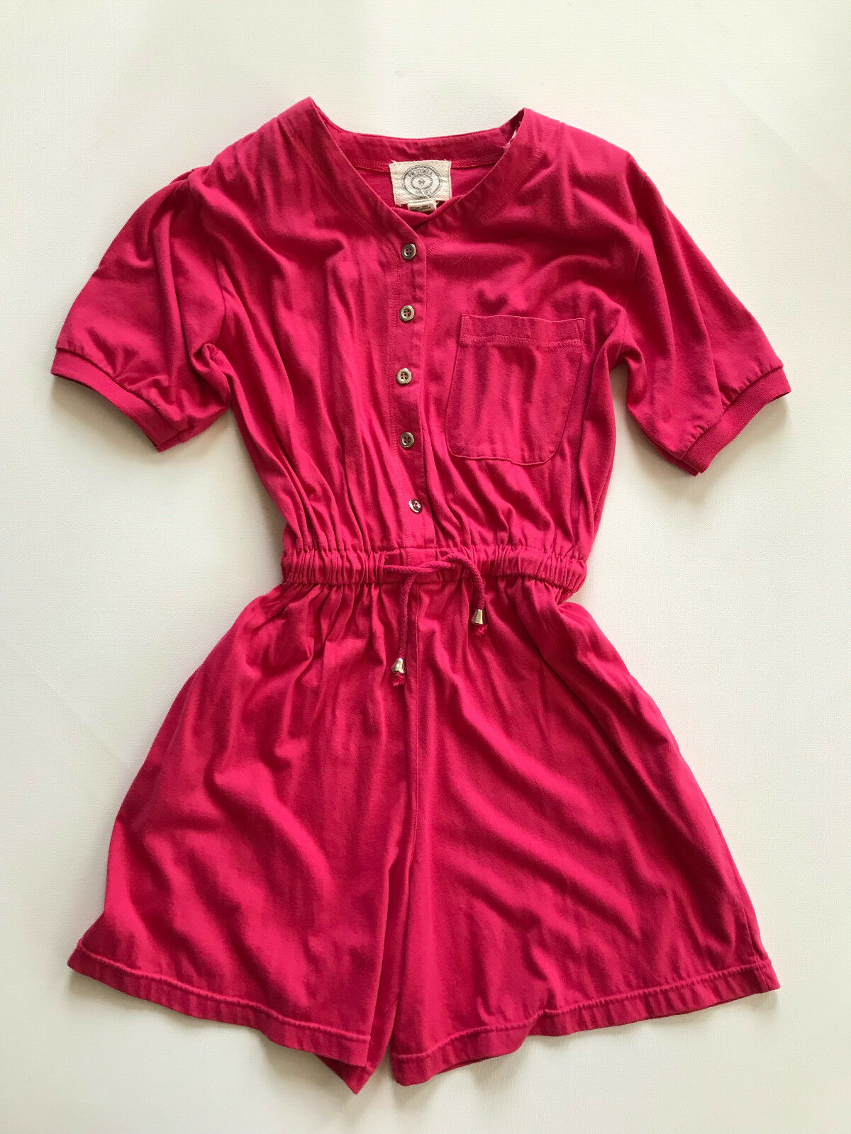 VNTG 90's Cotton Baseball Jersey Shorts Romper SMALL Hot Pink Victoria's Secret