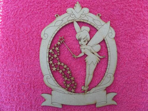 Wooden MDF laser cut Tinker Bell novelty craft embellishment hanging Plaque 3mm