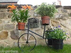 Black Metal Bicycle Plant Stand Garden Planter To Hold 4