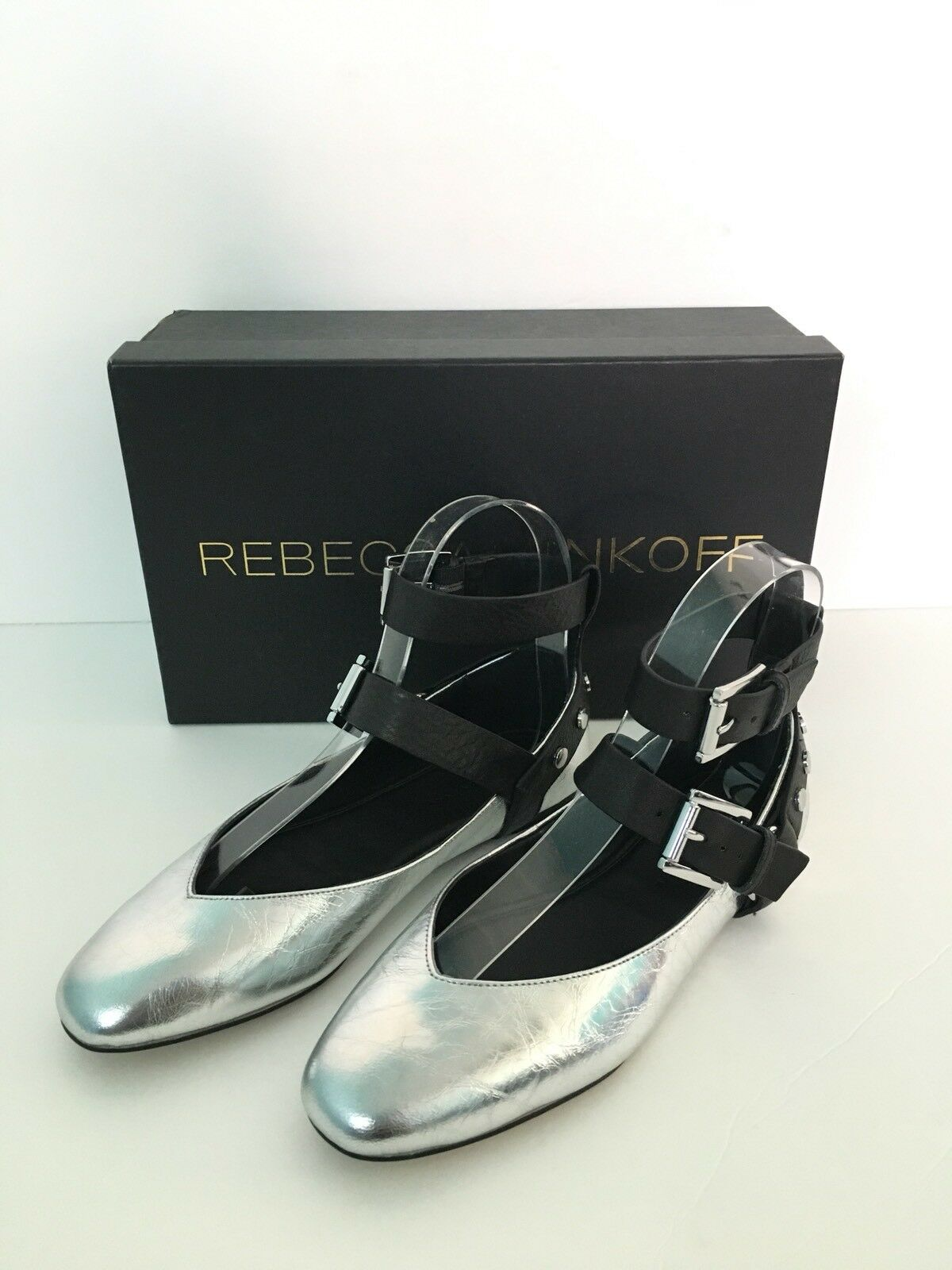 NEW WITH BOX Women's REBECCA MINKOFF Modern Vivica Silver Leather Flat shoes 5.5