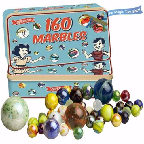 métal Jacks /& MARELLE Traditionnel Rétro Classique Jeux-Verre Marbles étain