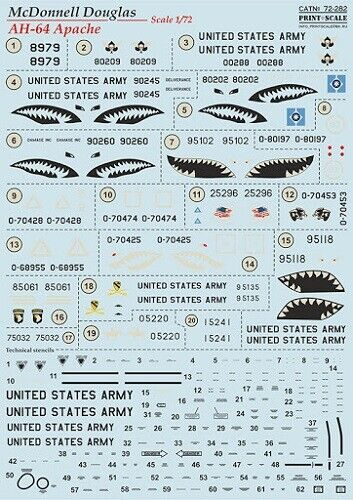 Neu 1:72 AH-64 Apache Decalset Print Scale 72-282