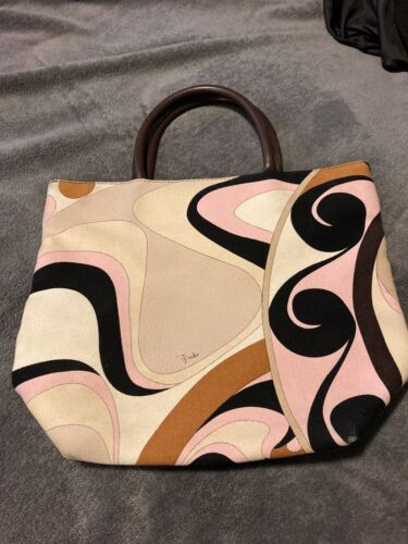 Emilio Pucci Canvas Leather Strap Hand Bag Purse S