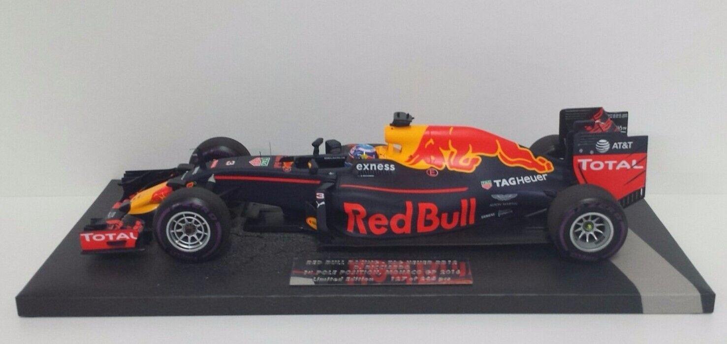 MINICHAMPS DANIEL RICCIARDO 1 18 rouge BULL RACING F1 RB12 1ST POLE MONACO GP 2016