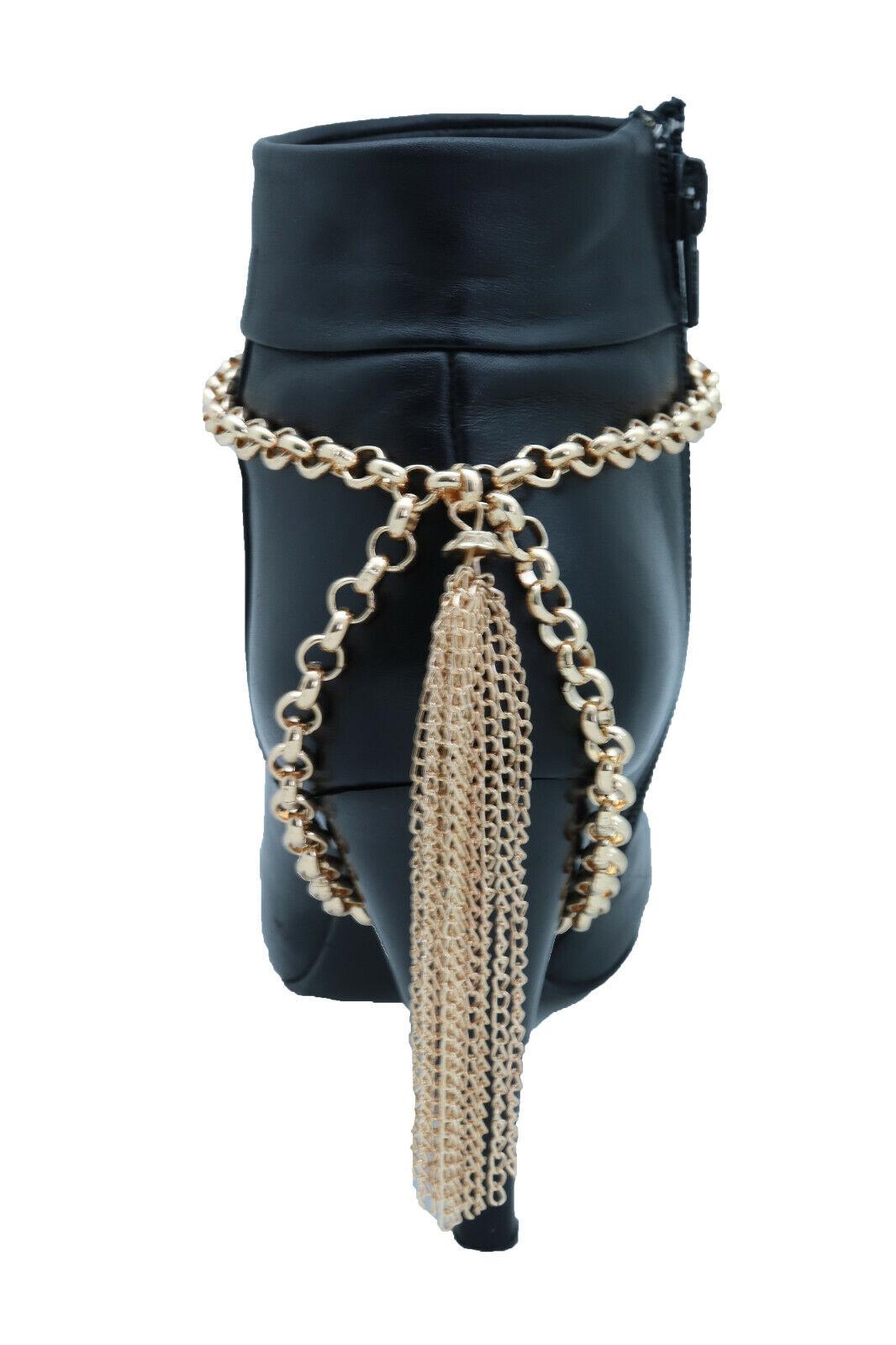 Sexy Women Gold Chain Boot Bracelet Shoe Back Tassel Fringes Charm Flirty Look