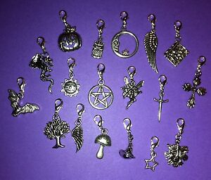 pagan clip on charms wiccan wicca pentagram athame witch