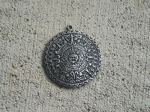 Tinsilver aztec calendar pendant nice ebay image is loading tin silver aztec calendar pendant nice aloadofball Image collections