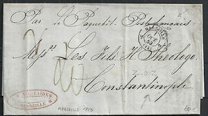 France 1852 folded PAQUEBOTcover Marseille to Constantinople