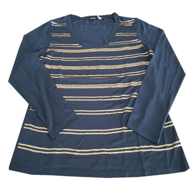 ELENA MIRO 't-shirt donna  blu con paillettes rame 95% viscosa 5 % elastan