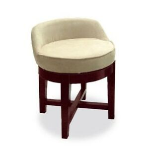 Swivel Vanity Stool Low Profile Padded Seat Chair Upholstered Wood ...