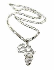 """MEN ICED OUT NUGGET AFRICA MAP SILVER PENDANT 5mm 24"""" FIGARO CHAIN NECKLACE D07S"""