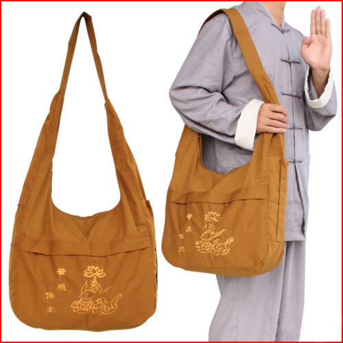 Embroidery Shaolin Zen Monk Buddhist Meditation Lay Kung fu Temple Bags Canvas