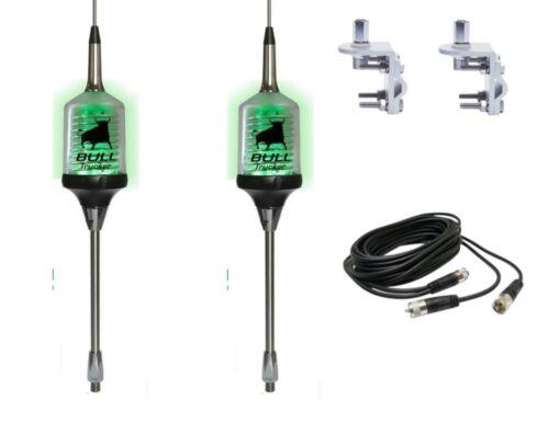 Lot of 2 Sirio Bull Trucker 3000 3//8 Antennas Green LED! MOUNTS 12/' DUAL COAX