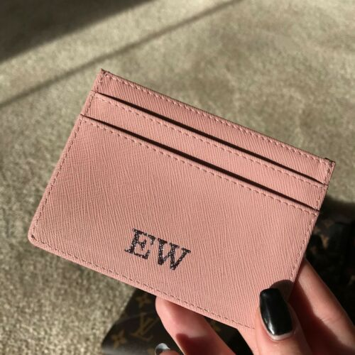 PERSONALISED GENUINE LEATHER CARDHOLDER FOIL INITIALS MONOGRAM SAFFIANO LYCHEE