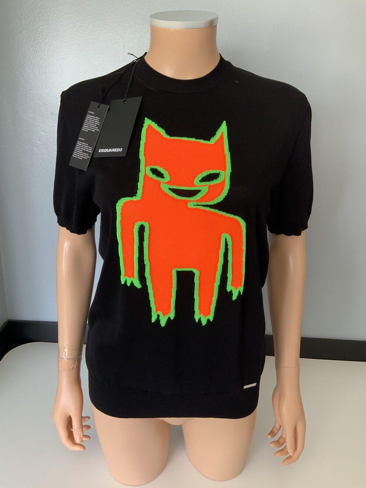 Dsquarot2 Ds2 damen Neon T Shirt Jumper, Top Größe Medium, schwarz, New