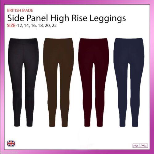 New Ladies High Waist Side Panel Women Ponte Thick Leggings Plus Sizes 12-22