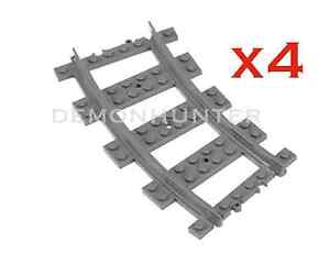 LEGO-Curved-train-track-pieces-x4-7499-8867-60052-7939-60051-City-Brand-new