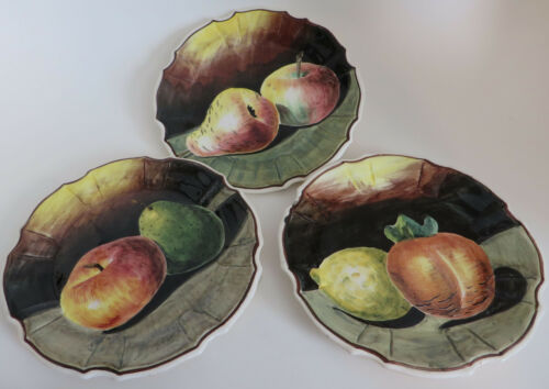 "Set of Three Plates Fruit Still Life hand Painted Italy 8"" Signed Pottery"