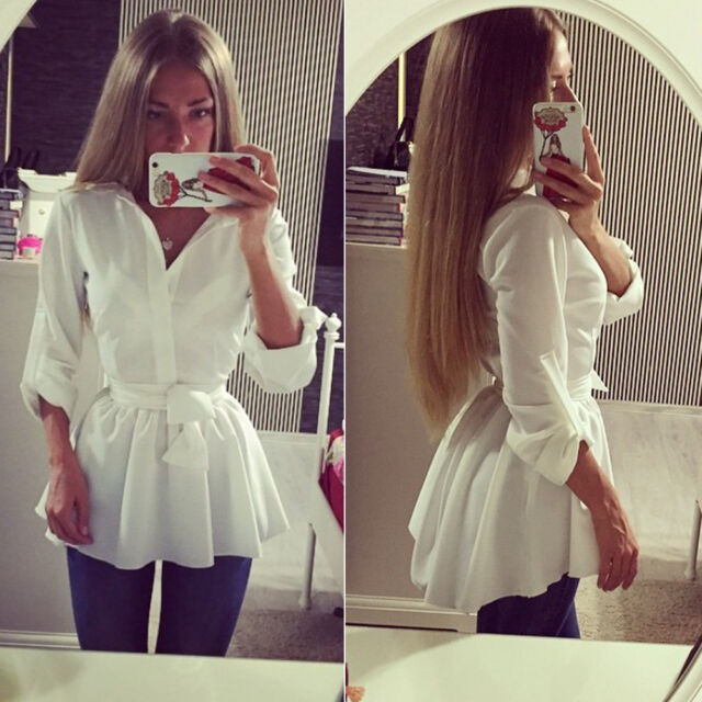 Fashion Women Blouse Shirt Long Sleeve Button Down Casual Tops Ladies Slim Dress