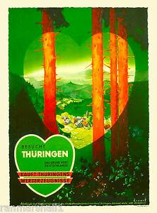 Besucht Thuringen Germany German European Vintage Travel Advertisement Poster