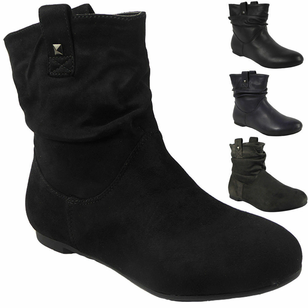 Mujer Pixie Rouched Flat Casual Pull On Low Heel Casual Flat Ladies Slouch Ankle botas Talla 79da69