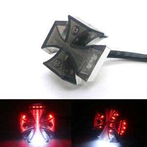 Motorcycle Tail Light Choppers Dirt Bike Maltese Cross Led Rear License Plate Tail Light For Most Dual Sport/dirt Bikes Quads Accessories