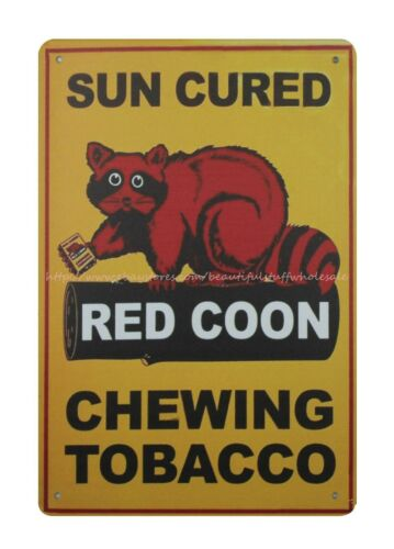 Sun Cured Red Coon Chewing Tobacco metal tin sign decoration