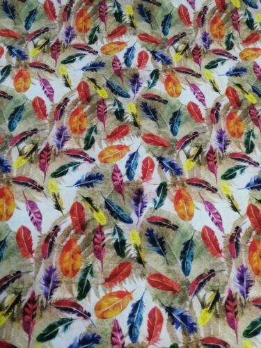 100/% cotton fabric by the half metre colourful feathers