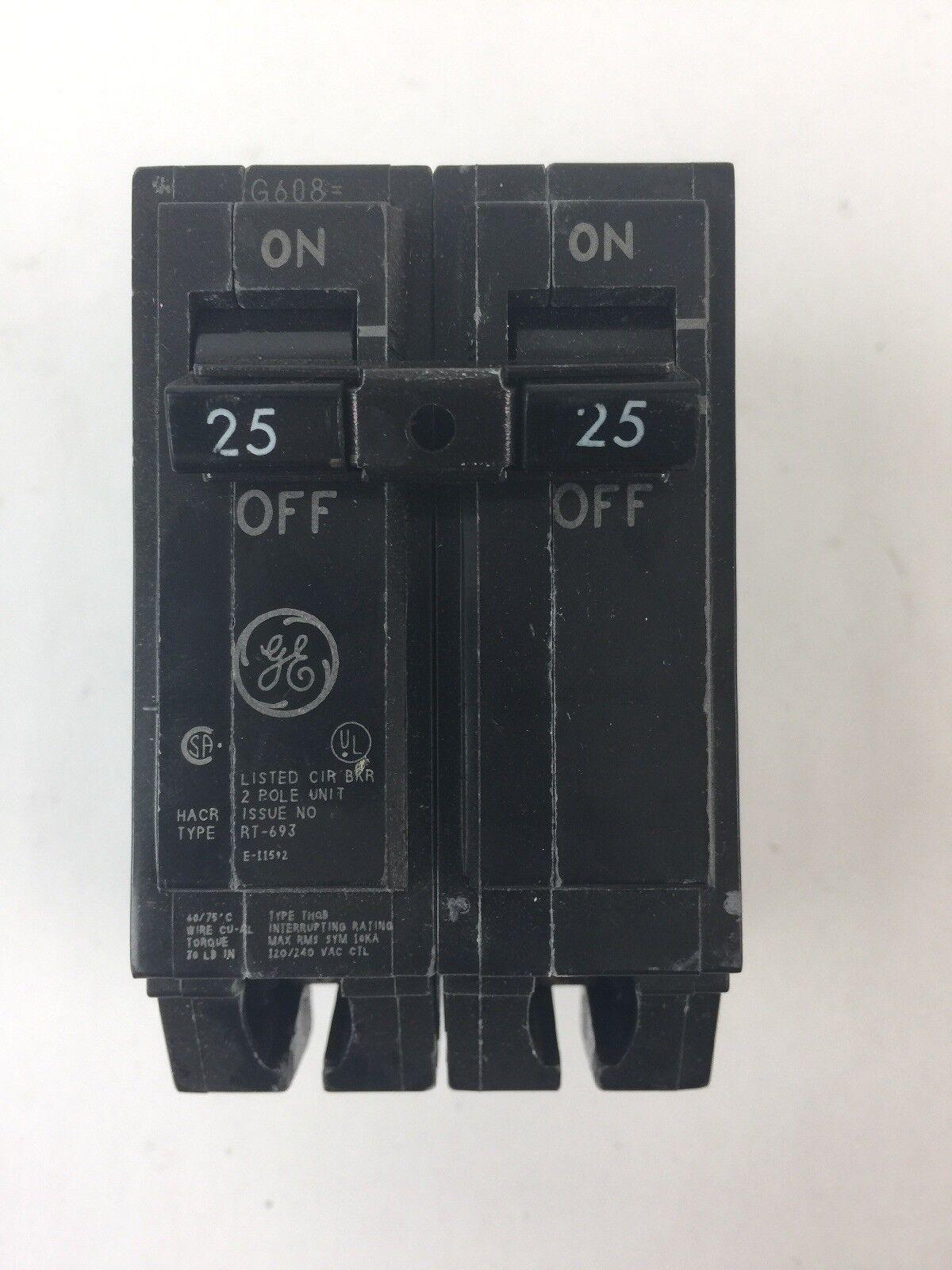 GE THQB22025 CIRCUIT BREAKER 120 240 VAC 25A