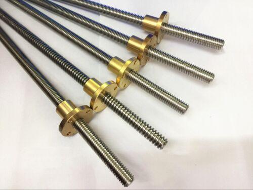 T12x8 12mm Lead Screw Picth 2mm Lead 8mm Trapezoidal Rod /& Nut L100-550mm