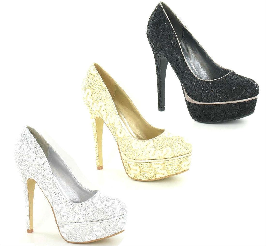 * vente * Mesdames tache sur la dentelle et effet paillettes plateforme cour chaussures f9604 9.99