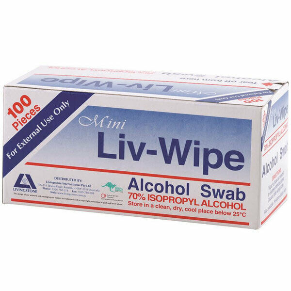 LIVINGSTONE MINI LIV-WIPE 100 ALCOHOL SWAB WIPES 70% ISOPROPYL ALCOHOL PREP PAD
