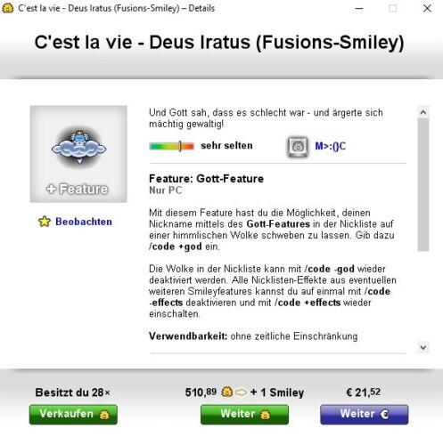 "Fusions-Smiley Knuddels.de Smiley /""Gott//Wolke//Deus Iratus/"""