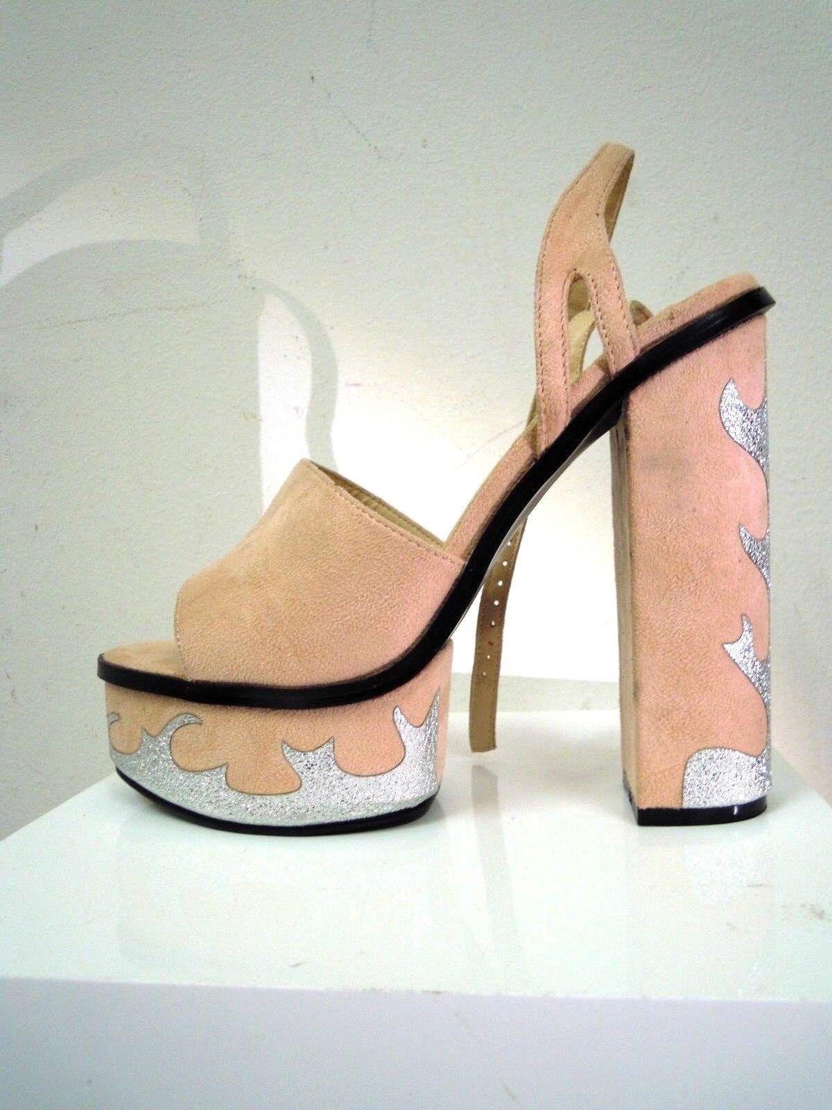 Schrille Sandaleette 70er Style Hippie Boho MottopartyPlateau Pumps 40,5 Glitzer