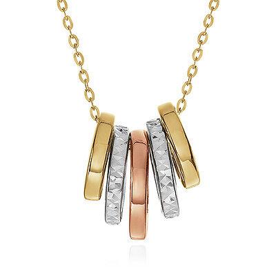 "10K Tri-Color Gold Sliding Rings Pendant - 18"""