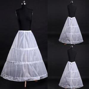 3-Hoop-A-Line-White-Long-Dress-Wedding-Gown-Petticoat-Underskirt-Slips-good